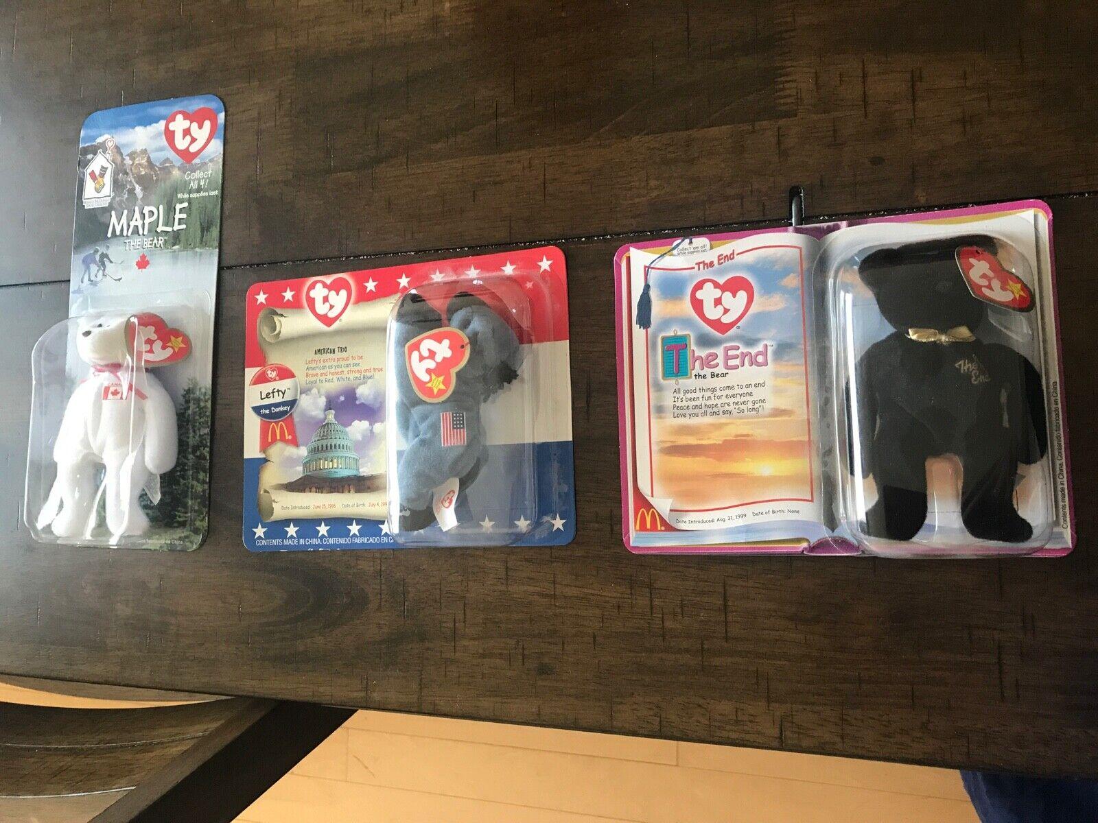 Ty Beanie Babies 3 rare error Maple the bear, Lefty, The End.  NWT