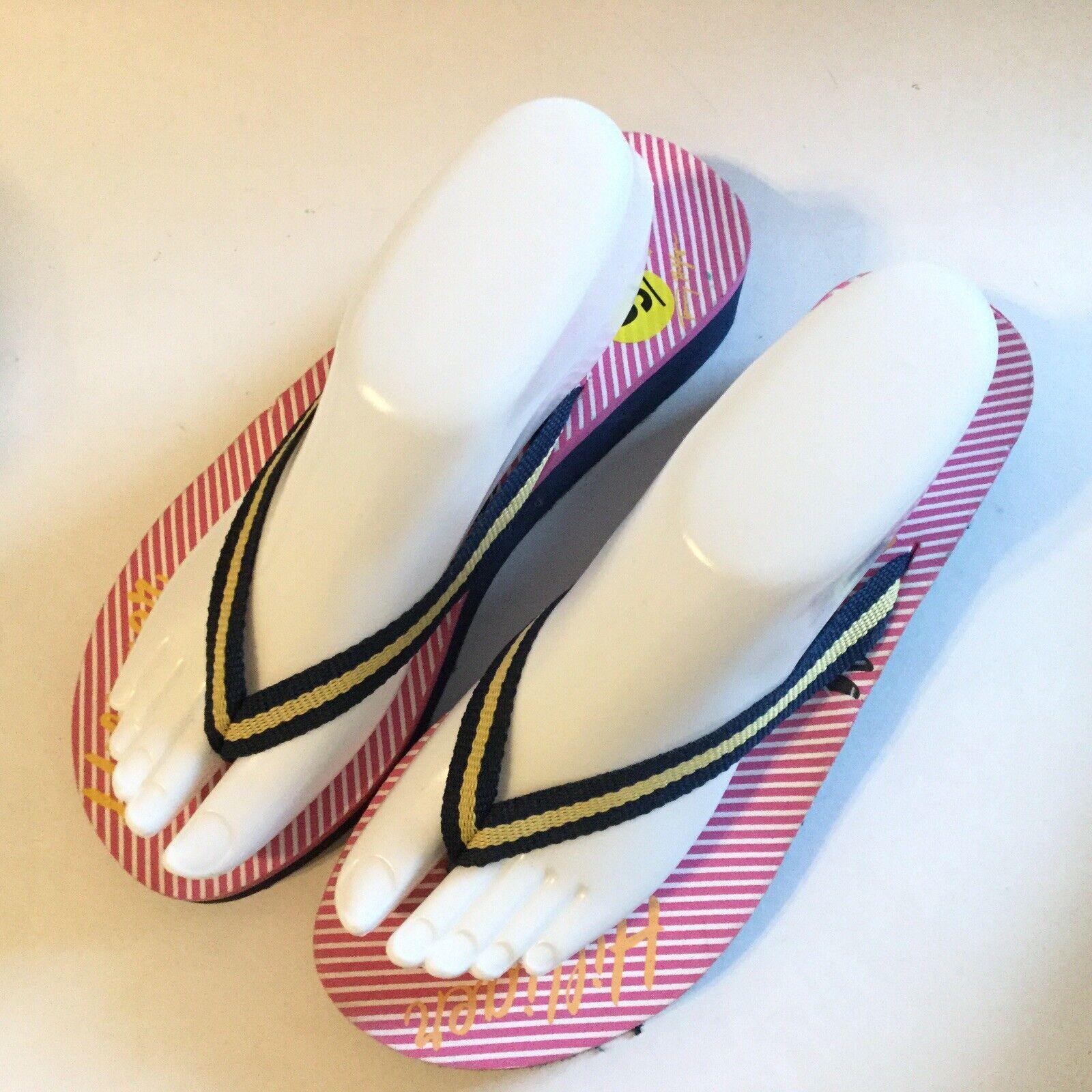 Tommy Hilfiger Women Size 9 Flip Flop Pink Navy S… - image 1