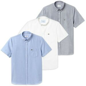 b285db6f59e483 Image is loading Lacoste-Shirt-Lacoste-CH4975-Cotton-Oxford-Short-Sleeve-