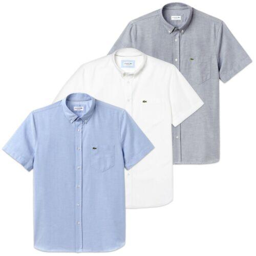 cielo Camisa manga azul algodón corta blanco Lacoste marino Oxford Ch4975 qnx1HwfS