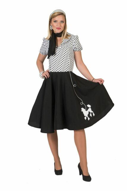 Girls Teeny Bopper Rock n Roll Costume Child 50s 60s Poodle Fancy Dress 3-10yrs