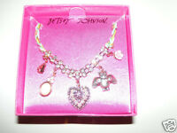 Betsey Johnson Multi Charm Heart Flower Bat Stone Necklace Cameo