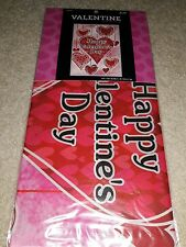 """Happy Valentine's Day Mini Garden Flag Red Hearts Pink  Background 12""""x18"""" Cute!"""