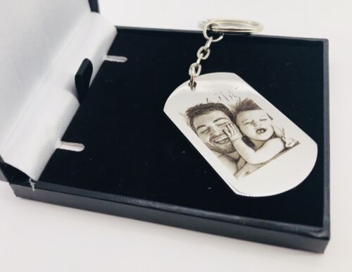 Personalised Fathers day Metal Keyring Photo Printed//text Valentine Free Giftbox
