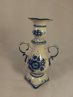 Candle Holder Porcelain Gzhel Candlestick Hand Painted in Russia