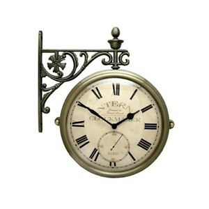 Image Is Loading Antique Vintage Double Sided Wall Clock Home Decor
