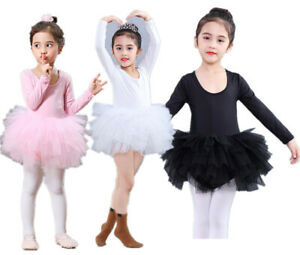 UK-Kids-Girls-Ballet-Tutu-Dress-Gymnastics-Leotard-Dance-Wear-Ballerina-Costume