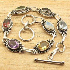 Multi-Colored-Multi-Gemstone-Long-BRACELET-7-7-8-Inches-Silver-Plated-Jewelry