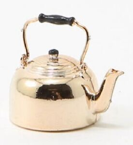 Dollhouse-Miniature-Copper-Tone-Teapot-Tea-Kettle-1-12-Scale