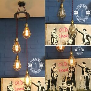 NEW-INDUSTRIAL-4-X-CAGE-HANGING-LIGHTS-CEILING-VINTAGE-LAMPS-CAFE-BARN-PUB