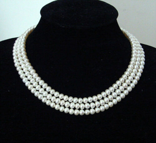 3Rows 7-8mm Genuine Natural White Akoya Cultured Pearl Beads Jewelry Necklace