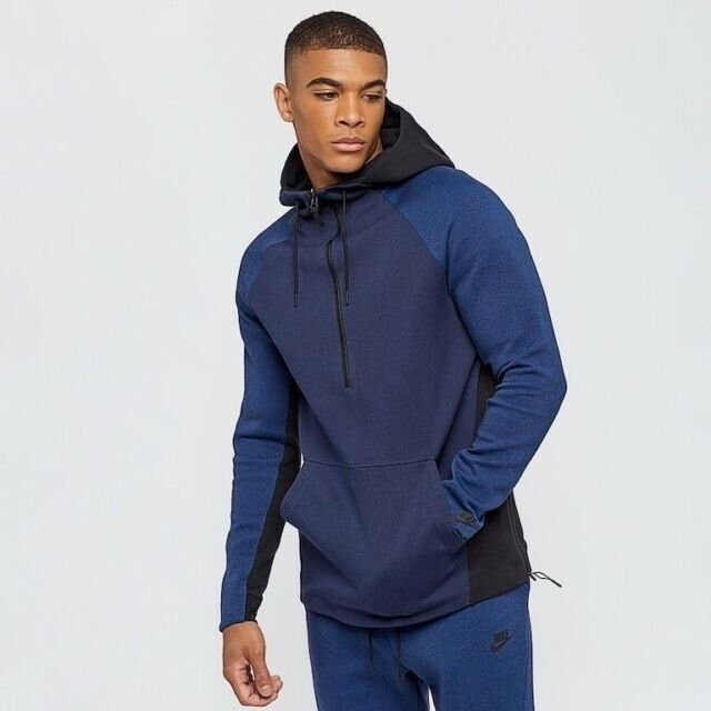 Nike Tech Pack Fleece Half,Zip Hoodie Obsidian Black 884892 451 Men\u0027s SZ L