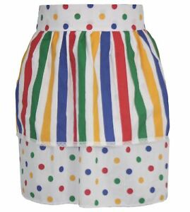 Ladies-Multi-Coloured-Spot-Pinafore-With-Stripe-Apron-CIN-Fancy-Dress-One-Size
