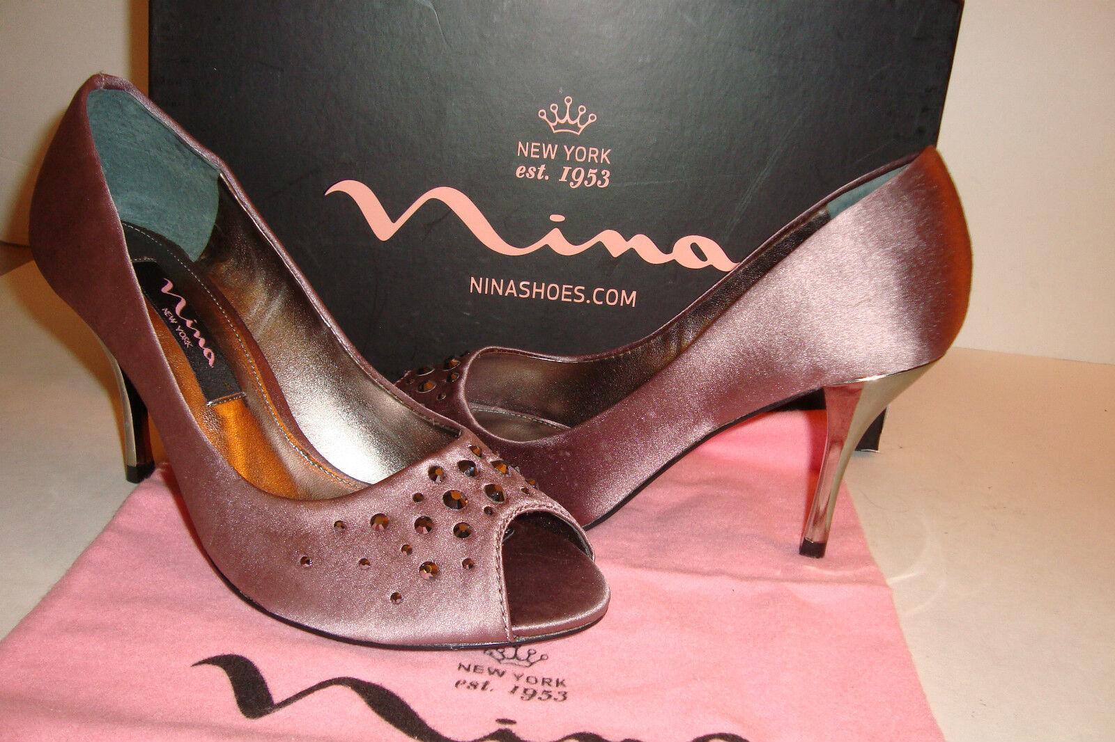 Nina New York Womens NWB Faviola Vintage Rose Satin Heels Shoes 5.5 MED NEW
