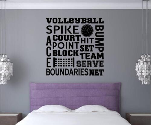 Volleyball Vinyl Decal Wall Stickers Words Letters Sports Teen Room Decor