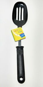 EKCO-Black-Nylon-Slotted-Spoon-12-034-Black-Plastic-Handle-Vintage-NOS