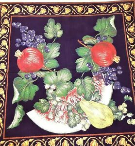 Pair-of-Navy-Brazilian-Cotton-Napkins-Linens-Feat-Bountiful-Fruit-and-Vines-New