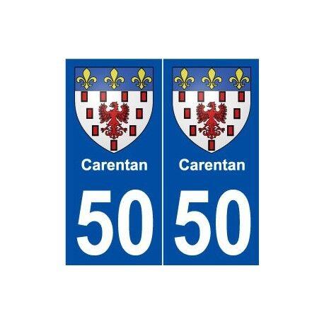 50 Carentan blason autocollant plaque stickers ville -  Angles : droits