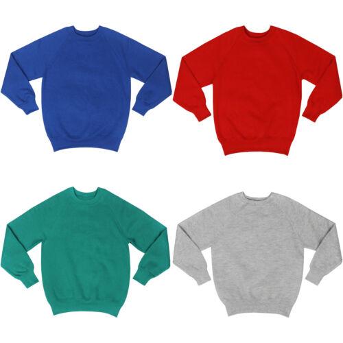 New Childrens Jumper Plain Boys Girls Kids Sweatshirt Fleece Crew Neck Pullover
