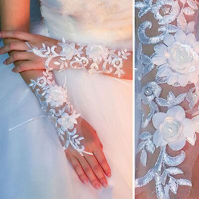Women's Victorian Vintage Mesh Lace Vine Wrist Length Gloves Trim Fingerless OS