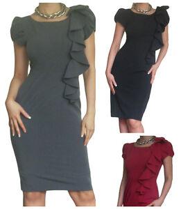 signore-vestito-LAVORO-D-039-ufficio-Body-da-donna-Nero-MATITA-alla-moda