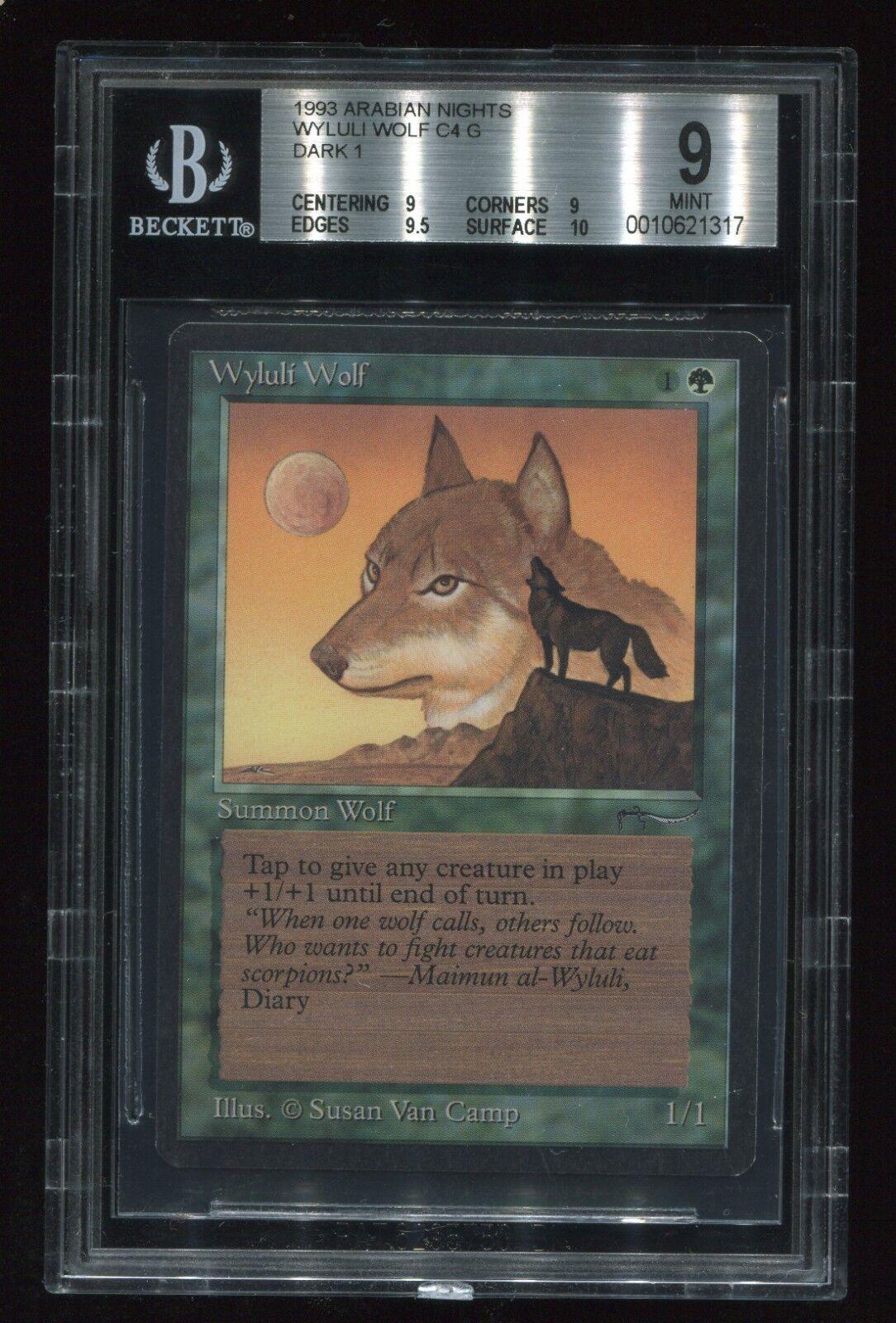 BGS Graded QUAD++ 9 w  9.5 & 10 subs  Arabian Nights Wyluli Wolf Dark MTG magic