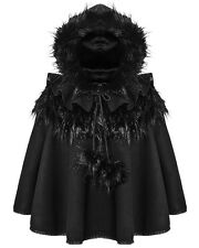Punk Rave Dolly Hooded Cape Black Faux Fur Trim Gothic Lolita Coat Poncho