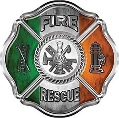 Firefighter Fire Rescue Maltese Cross Decal Green REFLECTIVE FF32