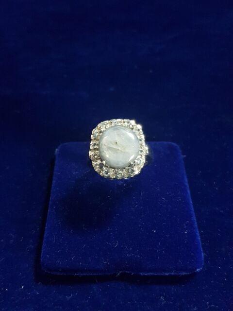Anello Argento 925 Labradorite Grigia e Zirconi-Silver Grey Labradorite Ring