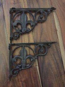 Antique Brown Finish cast iron Hooks, Brackets & Curtain Rods SET OF 4 FLEUR DE LIS SHELF BRACKET BRACE