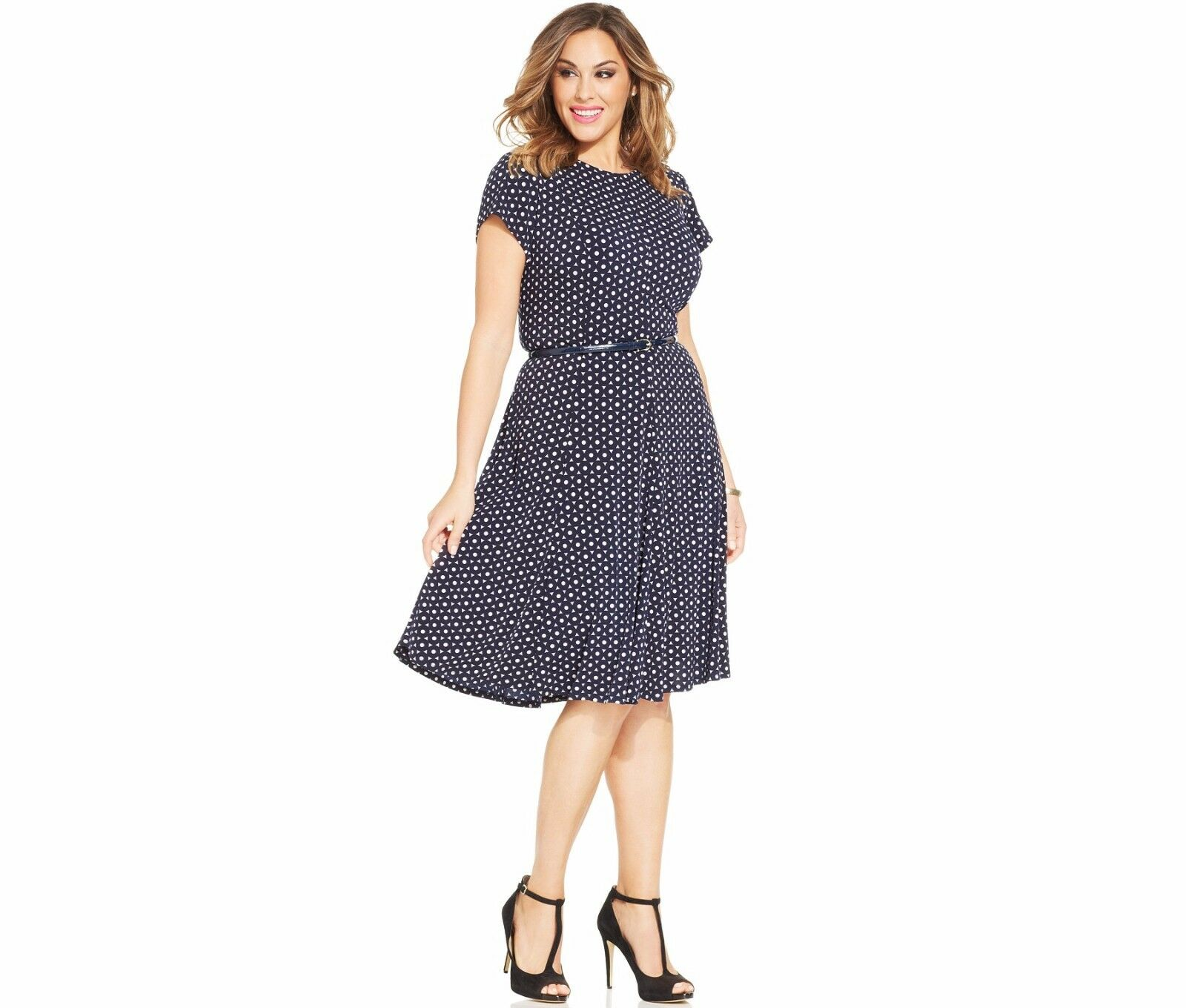NWT Jessica Howard Plus Graphic-Print Belted Dress Size 22W   Navy Ivory