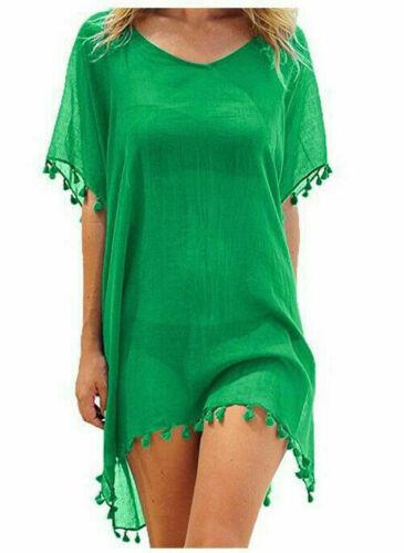 Womens Beachwear Swimwear Summer Ladies Tassel Cover Up Fringe Poncho Beach Wear