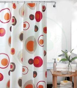 Peva Rideau de douche 120x200 cm coloré blanc marron rouge cercles + ...