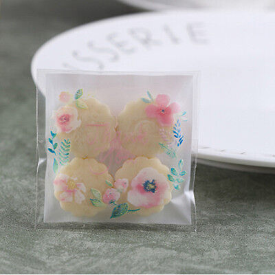 100Pc Self Seal Adhesive Rose Flower Cellophane Biscuit Candy Gift Bag