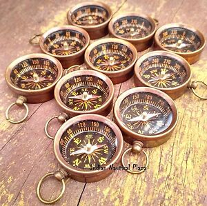 LOT OF 10 PCS MARITIME NAUTICAL VINTAGE STYLE BRASS POCKET COMPASS KEY CHAIN