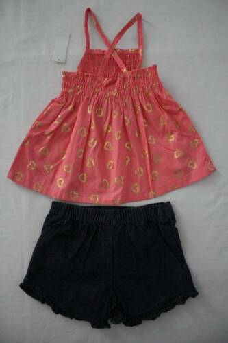 NEW Girls 2 p Outfit Size 2T Peach Smocked Sleeveless Top Denim Shorts Set Heart