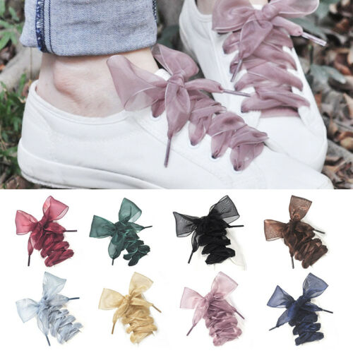 Colorful Shoelaces Flat Silk Satin Ribbon Sport Shoes Laces Sneakers Shoestrings