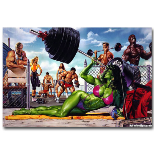 She-Hulk Superhero Bodybuilding Fitness Silk Poster 13x20 24x36inch