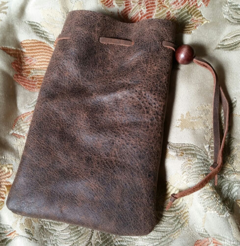 deluxe leather dice coin bag pouch medieval renaissance brown drawstring D/&D