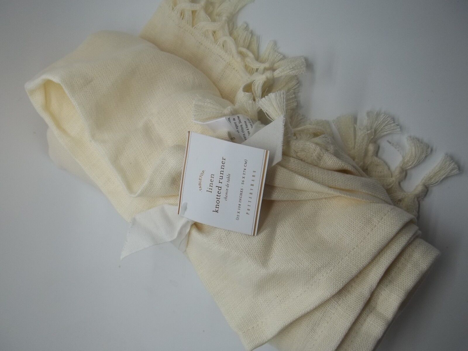 Pottery Barn Linen Knotted Table Runner Ivory 108   1