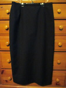 Womens lunga pura Gonna lunga Made In 14 in zip nera foderata lana 48 Italy con Motivi UwrqU