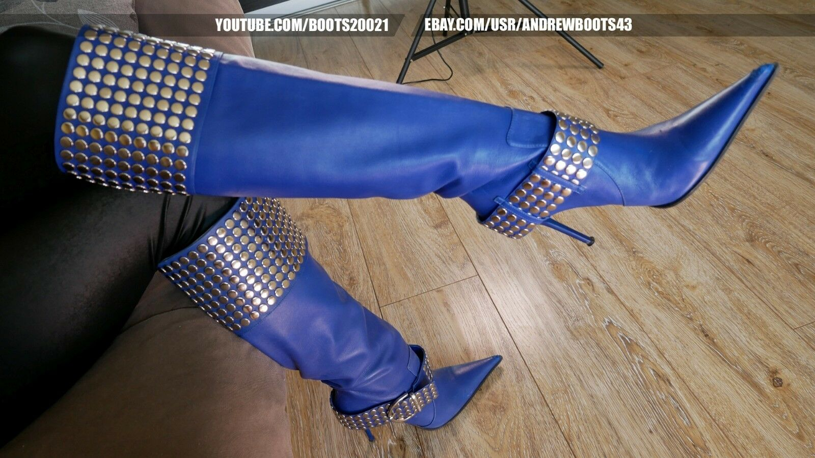GIANMARCO LORENZI Size 38 (US 7,5) Pointy High Heels Blue Leather Boots Rivets