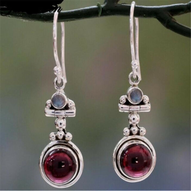 Women's Long 925 Silver Moonstone Red Agate Dangle Hook Earrings Wedding Jewelry