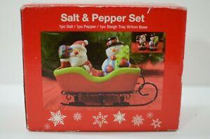 Atico Salt & Pepper Shaker Set Santa Snowman Sleigh Tray Iron Base Sleigh Holder