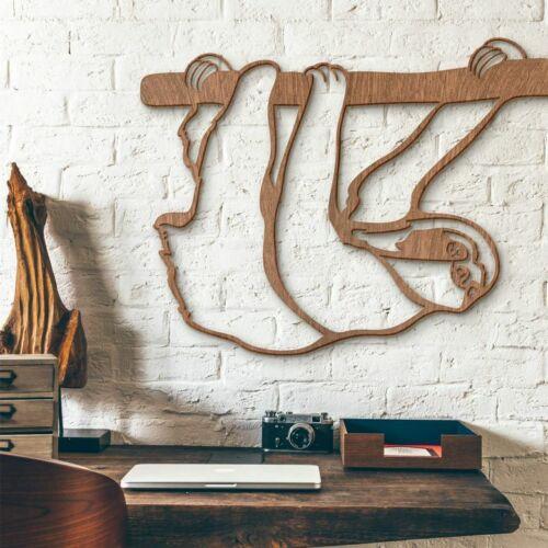 Faultier Tiere Wandbild Eyecatcher Holzdeko Holzwandschmuck Holzkunst Mahagoni