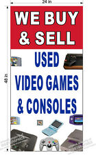 2' x 4' VINYL BANNER WE BUY AND SELL USED VIDEO GAMES CONSOLES NINTENDO STYLE V