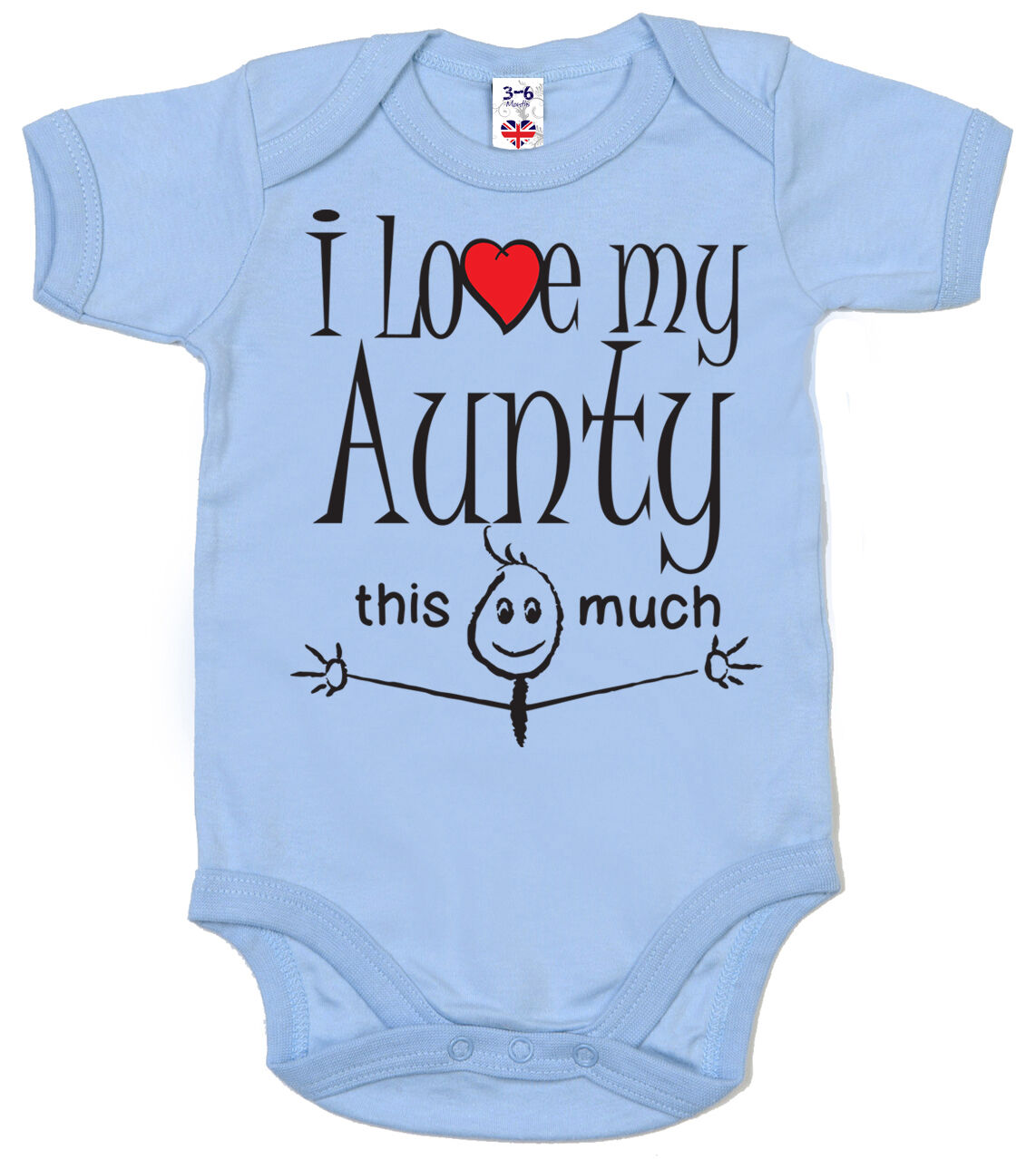 """Funny Baby Bodysuit /""""I Love My Mummy /& Daddy this Much/"""" Trimmed Babygrow Gift"""