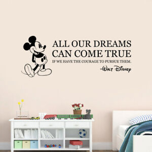 Details about Walt Disney Inspirational Quote Wall Sticker Mickey Mouse  Vinyl Decal Art q41