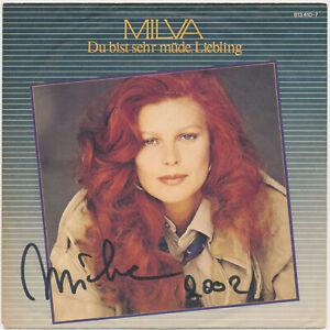 MILVA-Du-bist-sehr-muede-Liebling-7-034-Single-1984-Coverhuelle-hand-signed