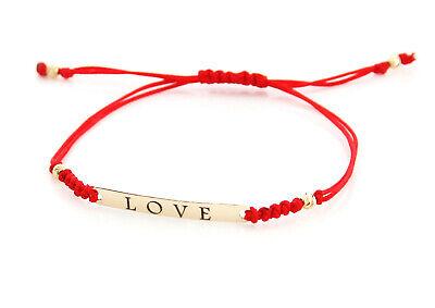 9ct Yellow Gold Friendship Love Red Cord String Bracelet Adjustable Ein Bereicherung Und Ein NäHrstoff FüR Die Leber Und Die Niere